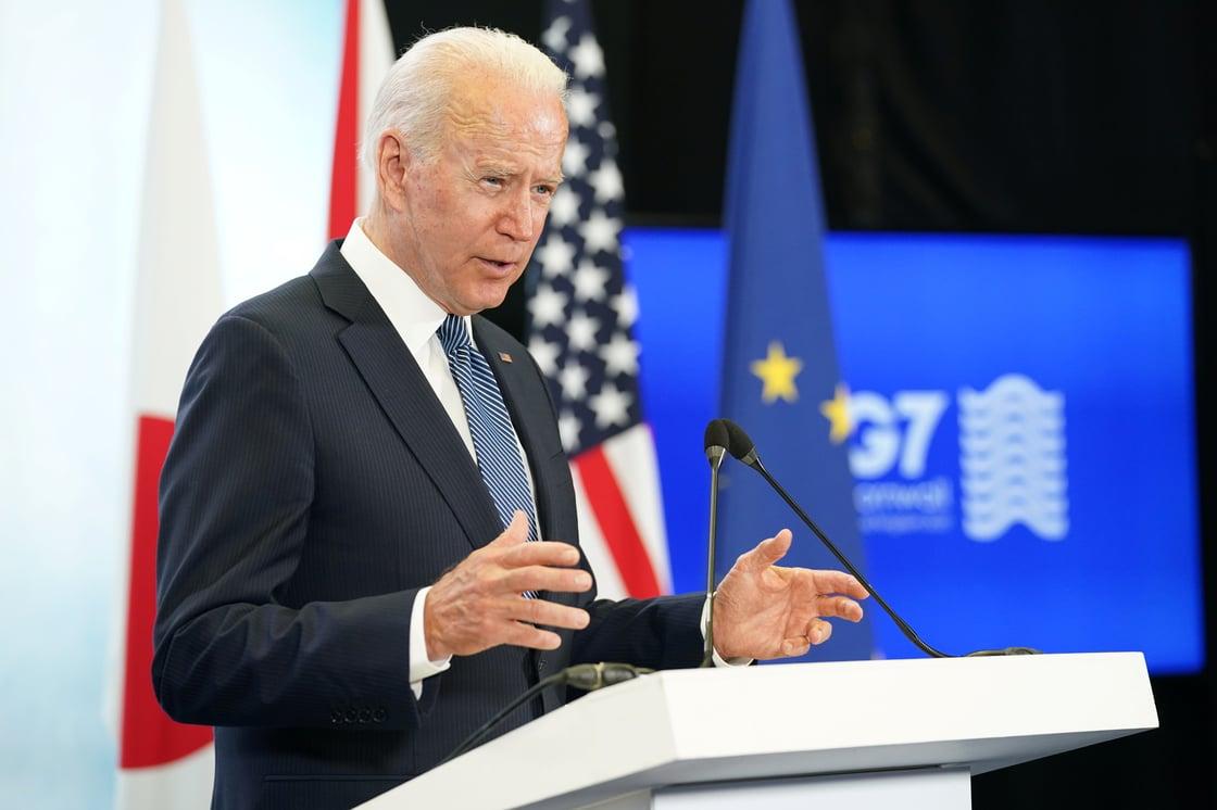 Biden speaking at G-7 summit