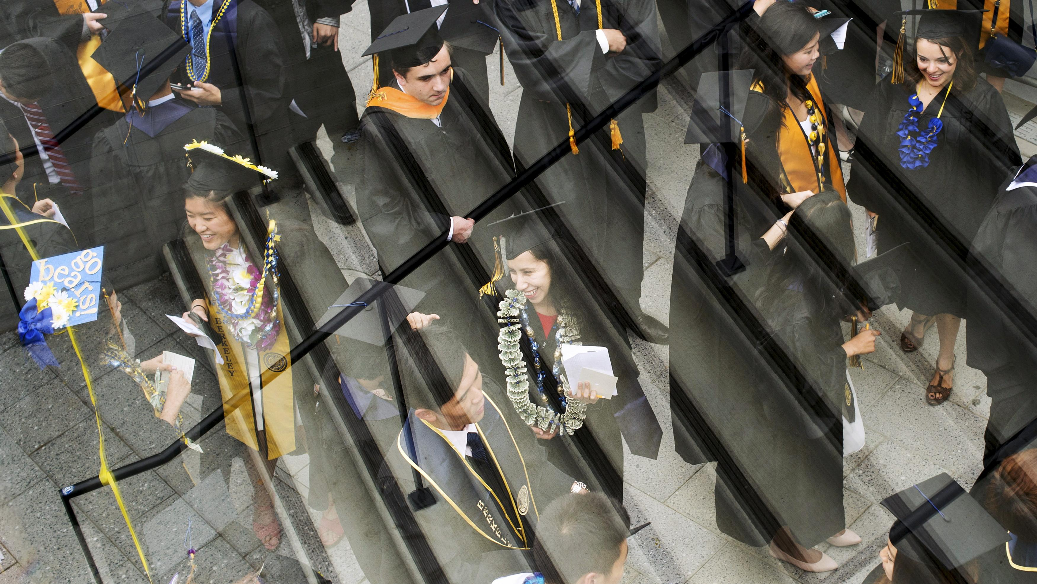 Graduates arrive for commencement at the University of California, Berkeley